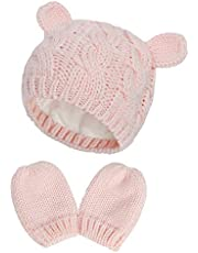 RAOEXI Unisex Baby Toddler Hat and Mitten Set Winter Knitted Thick Warm Beanie Cap Gloves for Infant Boys Girls
