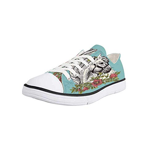 Canvas Sneaker Low Top Shoes,Floral,Boho Style Horse Opium Blossoms Poppy Wreath Equestrian Illustration Women 9/Man 6.5 (Opium Made Easy)