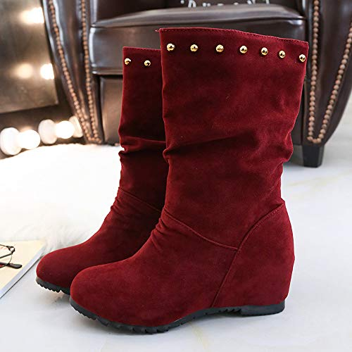 Brown Toe Color 43 Women Pure Shoes 35 Booties Shoes Rivets Red JERFER Warm Suede Wedges Keep Black Shoes Red Round qfctwRwa