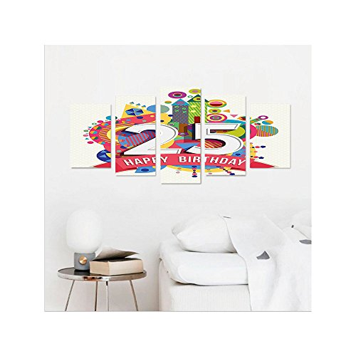 Liguo88 Custom canvas 25th Birthday Decorations Fun Celebration Greeting Card Inspired with Number Text Label Wall Hanging for Bedroom Living Room Multicolor