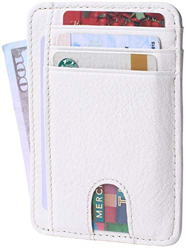 Slim Minimalist Credit Card Holder Front Pocket RFID Blocking Leather Wallets for Men & Women (White)