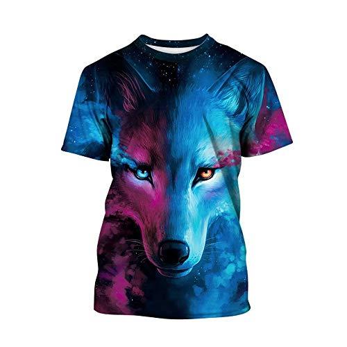 Tsyllyp Boys Girls Short Sleeve Crew Neck T-Shirt Animal Wolf 3D Printed Shirts