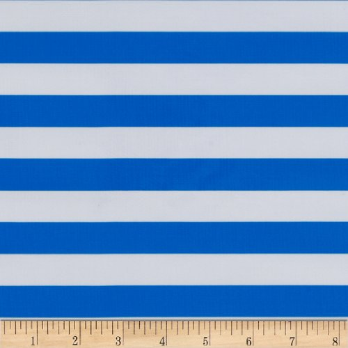 Oilcloth Stripes Blue Fabric By The Yard