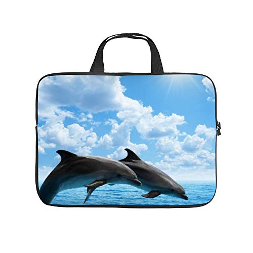 Two Dolphins Jumping on The Clear Blue Sea Ocean 12inch Laptop Bag, Slim Laptop Sleeve Case Water Resistant Handbag for Women & Men Notebook Bag