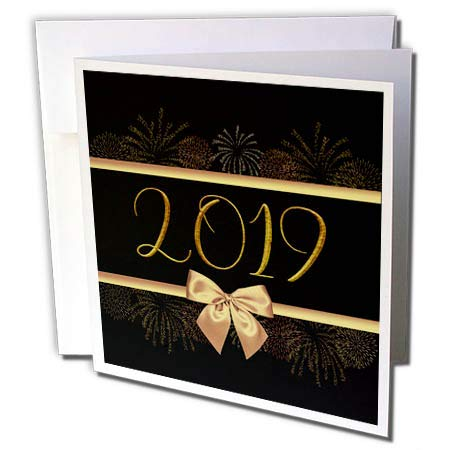 3dRose Beverly Turner New Years Design - Image of 2019, Gold Ribbons, Fireworks, and Bow Look, Black Background - 12 Greeting Cards with envelopes (gc_300606_2)