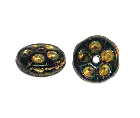 Czech Glass Beads, 7 mm, Jet and Gold Antique Rondelle Spacer, Qty: 20
