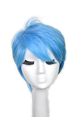 [Yuehong Blue Short Wavy Fashion Hair For Adult Cosplay Costume Hair Party Wig Hot Sale] (Costume Wigs For Sale)