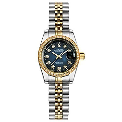 Topwatch® Sangdo Women's Diamond-Accented Bezel Blue Dial two-tone band Automatic Mechanical Watch (Sangdo Automatic Watches)