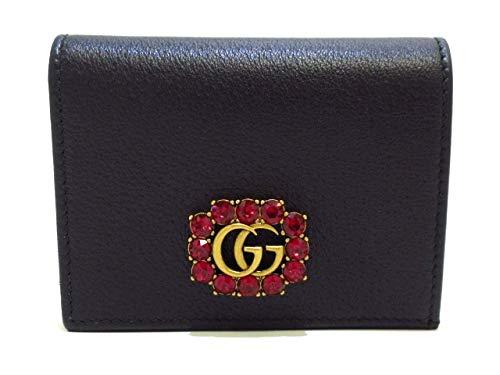24e7b57bc660 Amazon.co.jp: (グッチ) GUCCI 2つ折り財布 GGマーモント クリスタル 黒 ...