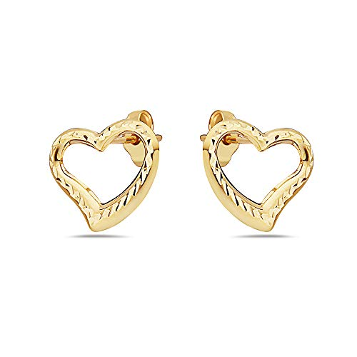 Pori Jewelers 14K Solid Gold Heart Stud Earrings-with Real 14K Gold Butterfly Backings- Many Variations and Colors Available (Open Heart Diamond Cut Yellow)