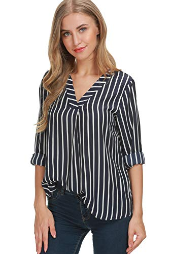 a51624a3c Eliacher Women Long Sleeve Shirts Striped Chiffon Blouse Loose Casual Tops