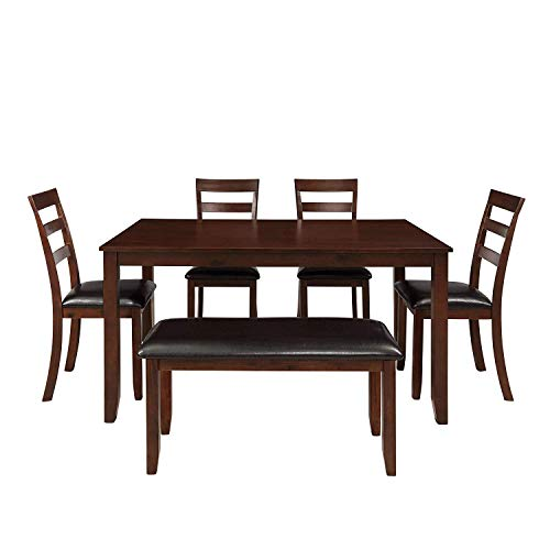 MOOSENG 6 Pieces Dining Table Set, with Wood Elegant Desk, 4 Padded High-Back Chairs, 1 Bench, Perfect for Kitchen, Breakfast Nook, Living Room Occasions, Espresso-6pcs (6 Piece Dining Set With Bench Espresso)