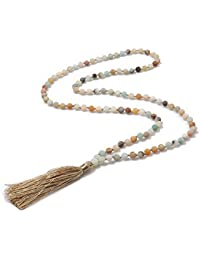 6MM Mala Beads Necklace Natural Stone Meditation Statement Necklace Japa  Yoga Rosary Prayer Charm Beaded Tassel · BALIBALI 699dd01a4310