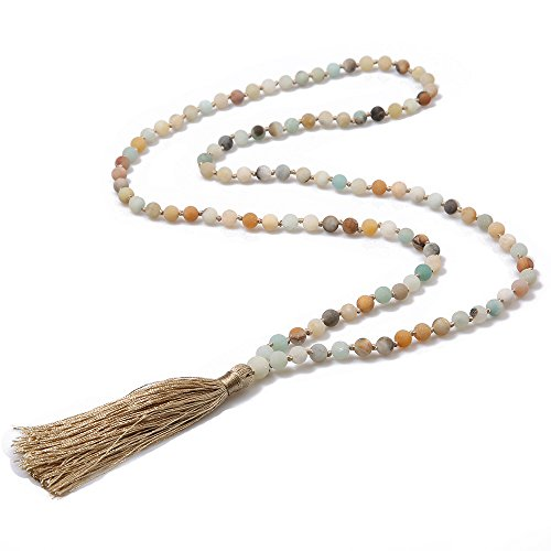 BALIBALI 6MM Mala Beads Necklace Natural Stone Meditation Statement Necklace Japa Yoga Rosary Prayer Charm Beaded Tassel Necklace ()