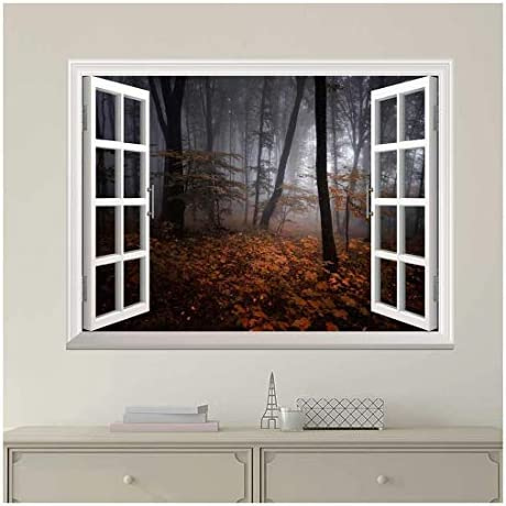 Modern White Window Looking Out Into a Dark Foggy Forest During Fall Time - Wall Mural, Removable Sticker, Home Decor - 36x48 inches