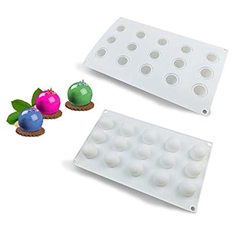 Molde de silicona para bola de chocolate, molde de silicona para repostería, helado, helado, postres románticos de silicona, 15 agujeros: Amazon.es: Hogar