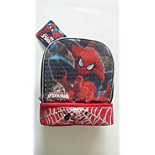 Spider-Man 3D Molded Chest Insulated Lunch Kit, with side mesh pockets. Padded handle for easy carry.