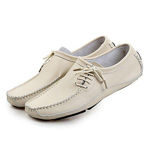 Respirables Hombres de Cuero Ocasionales conducción Zapatos White Verano Rice de Zapatos de los de qSCPaPdw