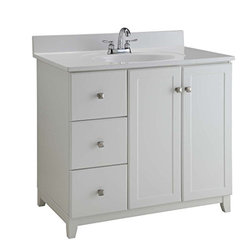 Design House 547166 Shorewood Furniture-Style Vanity Cabinet with 2-Doors and 2-Drawers, 36-inches by 21-inches, Semi-Gloss White