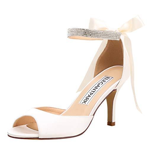 ElegantPark Women Peep Toe High Heel Sandals Bridal Wedding Shoes for Bride Ankle Strap Ivory US 8
