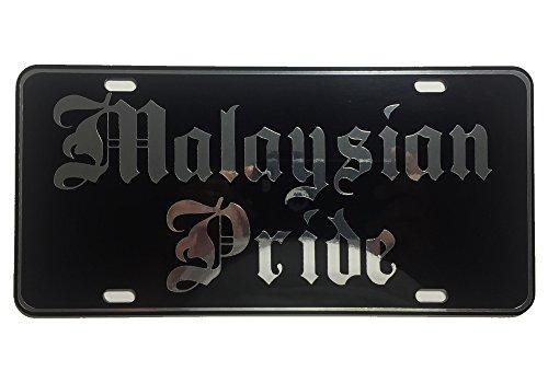CustoMonsterDesigns Malaysian Pride License Plate Chrome Mirror Silver Vinyl on Black Mirror License - Malaysian Mirror