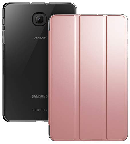 Galaxy Tab A 8.0 2018 Case, Poetic Smart Cover Case w/Flexible Soft Clear TPU Back, Slim-Fit Trifold Stand Folio Front, Lumos X Series, SM-T387 Verizon/Sprint/T-Mobile/AT&T, Rose Gold ()