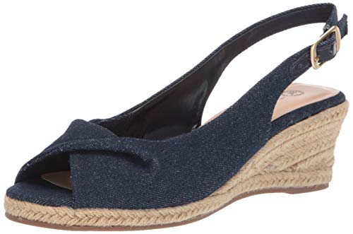 Bella Vita Women's Sylvie II Espadrille Sandal Wedge, Soft Denim, 10 2W US