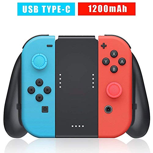 Joy-Con Charging Grip Compatible with Nintendo Switch, Switch Joy Con Comfort Grip with Built-in 1200mAh Rechargeable Battery, USB Type C Charging Cable and 2 Pro Thumb Grip Caps Included