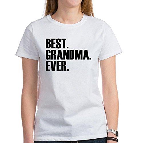CafePress Best Grandma Ever T-Shirt Womens Cotton T-Shirt, Crew Neck, Comfortable & Soft Classic Tee White