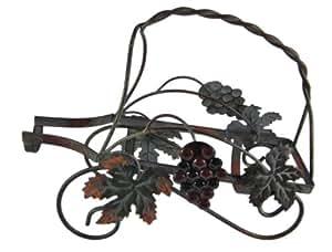 Grape Motif Metal Single Wine Bottle Holder Carrier