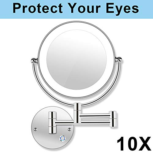 AmnoAmno-85-LED-Double-Sided-Swivel-Wall-Mount-Vanity-mirror-10x-Magnification137-ExtensionTouch-Button-Adjustable-LightChromiumShaving-in-Bedroom-or-Bathroom-85-Inch