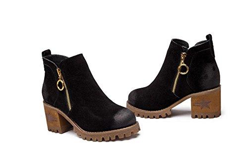 áspero seguido de estilo británico cashmere Martin Botas botas mujer de de redonda mate botas de terciopelo black con mujer zapatos además cabeza w4xqA6HBwU
