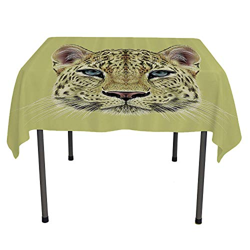 Animal Decor Tablecloth Clear Protector Wildlife Theme Illustration Portrait of African Leopard with Blue Eyes Khaki and Yellow Coloring Table Cloths Spring/Summer/Party/Picnic 60 by 60