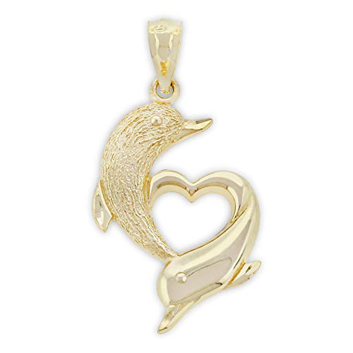 Charm America - Gold Dolphin Heart Charm - 10 Karat Solid Gold