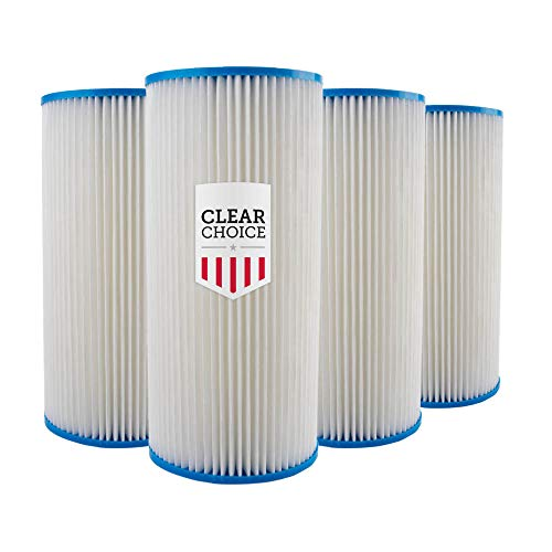 Clear Choice Sediment Filter Cartridge 10in X 4.50in Replacement for Pentek 155101-43 R30-BB, GE FXHSC, Whirlpool WHKF-WHPLBB, American Plumber W30PEHD, Dupont HDC3001, 4-Pk