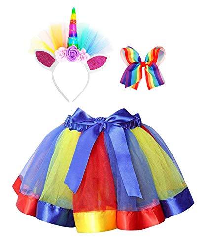 Simplicity Girls Tutu Layered Tulle Tutu Skirt for Cosplay Birthday Party Unicorn Headband Hair -
