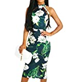 Respctful Women's Bohemian Floral Printed Casual Swing Pleated Dress Sexy Backless Lace-Up Maxi Dress Skirt Long Green