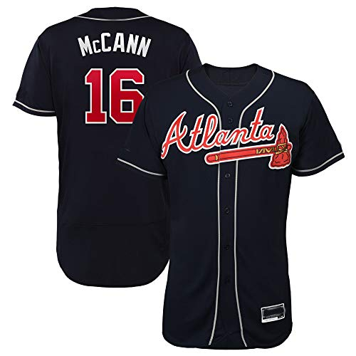 Men's/Women's/Youth Brian_McCann_#16_Braves Player Game Jersey XL Black ()