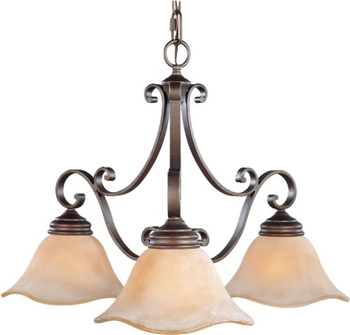 Murray Feiss F1837/3CB Tuscan Villa, Kitchen Chandelier, 3 Light, 300 Watts, Corinthian Bronze - Tuscan Style Chandeliers