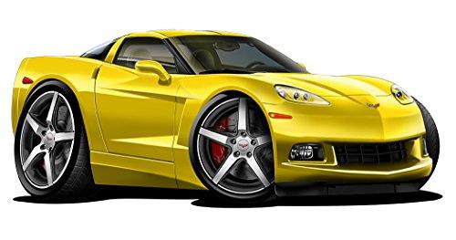 - C6 Corvette Stingray Z-51 Cartoon Car WALL DECAL 2ft long Sport Car Graphic Sticker Man Cave Garage Boys Room Decor