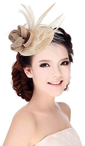 MARRYME Tocados de Pelo Fiesta Boda Mujer Sombrero con Plumas Diadema Flores Caqui