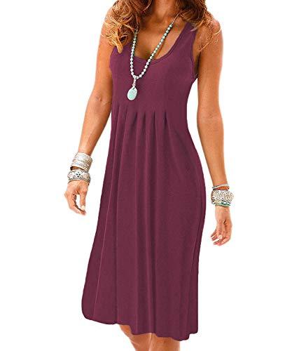 VERABENDI Women's Summer Casual Sleeveless Mini Plain Pleated Tank Vest Dresses Mauve Large