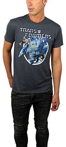 Freeze Transformers Mens Vintage Transformers Graphic Tee (Medium, Charcoal)