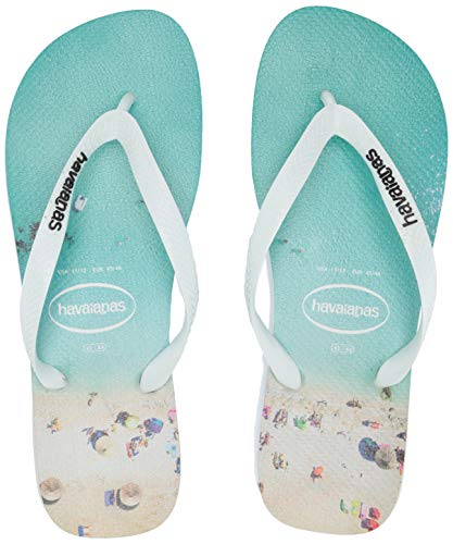 Havaianas Men's HypeFlip Flop Sandal,White/Wave, 39/40 BR(9-10 M US Women's / 8 M US - Sandals Havaianas Embossed