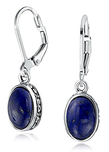 Bali Style 3 CT Oval Dome Blue Lapis Lazuli Gemstone Bezel Drop Dangle Leverback Earrings For Women 925 Sterling Silver