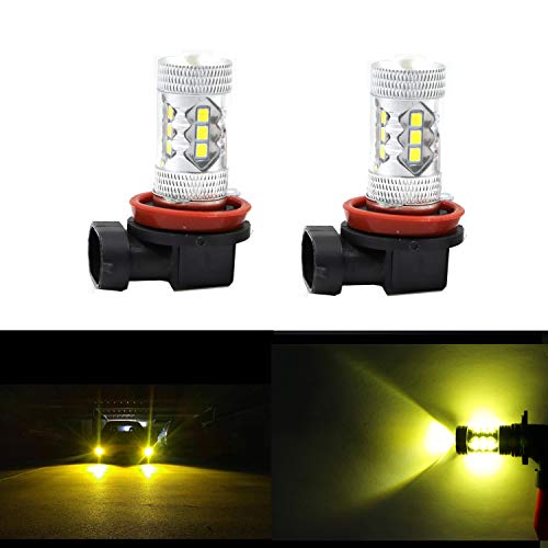 Dantoo 2 x H8 LED Bulbs H11 Fog Lights Extremely Bright 3000K 16 SMD H16 LED Fog Light Lamp Replacement for DRL or Fog Lights, Gold Yellow ()