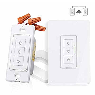 Smart 3 Way Dimmer Switch Kit for Dimmable LED Light, Halogen, Incandescent Bulb, Woks with Amazon Alexa, Google Assistant and IFTTT, Remote & Voice Control