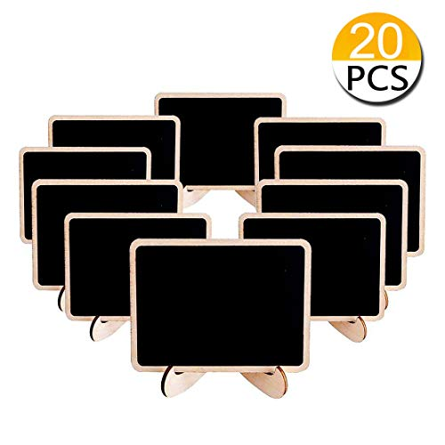 20Pack Mini Chalkboards Signs with Easel Stand Rectangle Wood Place Cards Food Signs for Buffet Blackboard Message Board for Wedding Birthday Event Party Decoration, Set of 20