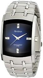Armitron Men's 204507DBSV Stainless Steel Dress Watch with Swarovski Crystals