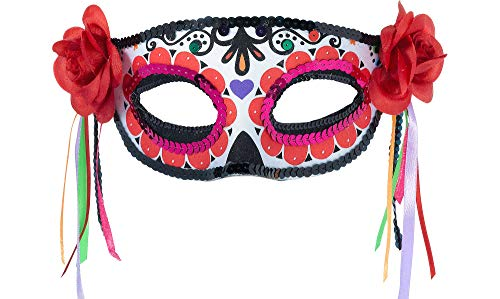 Amscan Day of the Dead Masquerade Mask Halloween Costume Accessory for Women, One Size -